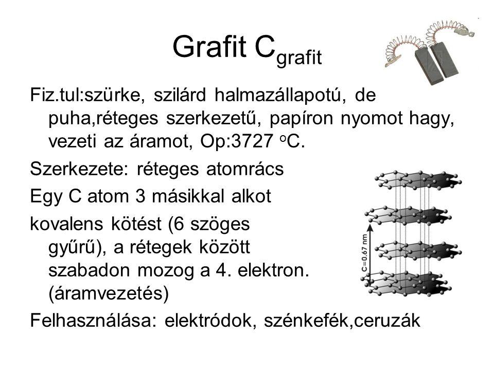 Grafit C grafit Fiz.tul:szürke, szilárd halmazállapotú, de puha,réteges szerkezetű, papíron nyomot hagy, vezeti az áramot, Op:3727 o C.