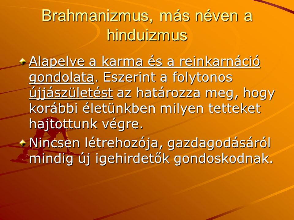 Brahmanizmus, más néven a hinduizmus Alapelve a karma és a reinkarnáció gondolata. Eszerint a folytonos újjászületést az határozza meg, hogy korábbi é
