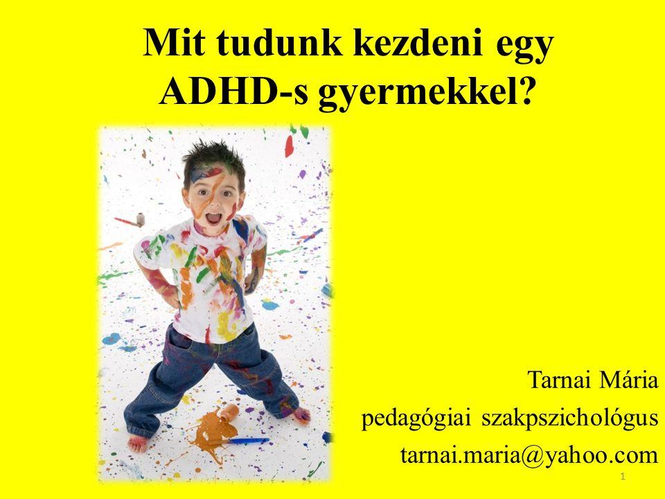 Az ADHD szemüvegén keresztül Vizuális ingerek, digitális bennszülöttek  túlpörgés Jellemzők: – Nucleus caudatus gátló funkciót ellátó területén a neurotranszmitterek nem megfelelő mennyisége – Önkontroll, szabályozó funkciók gyengesége, túltevékenyek, nem akkor és nem úgy mozognak  erősítés, szabályozó környezet fontossága 2