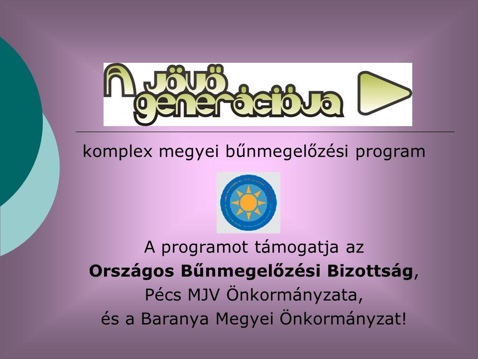 komplex megyei bűnmegelőzési program A programot támogatja az Országos Bűnmegelőzési Bizottság, Pécs MJV Önkormányzata, és a Baranya Megyei Önkormányzat!
