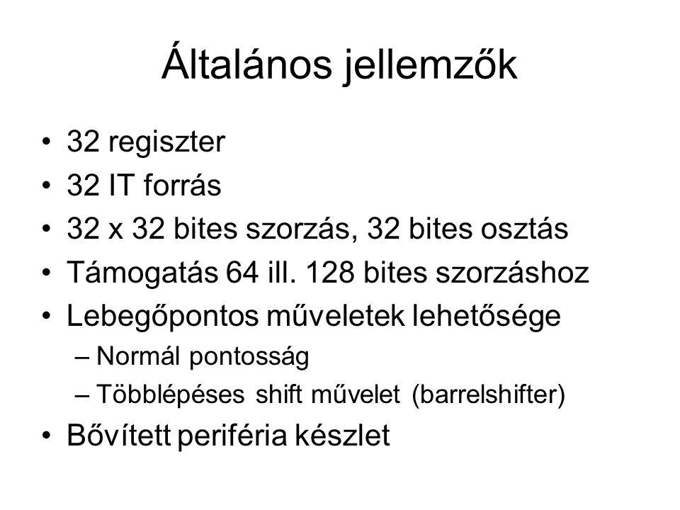 Általános jellemzők 32 regiszter 32 IT forrás 32 x 32 bites szorzás, 32 bites osztás Támogatás 64 ill.