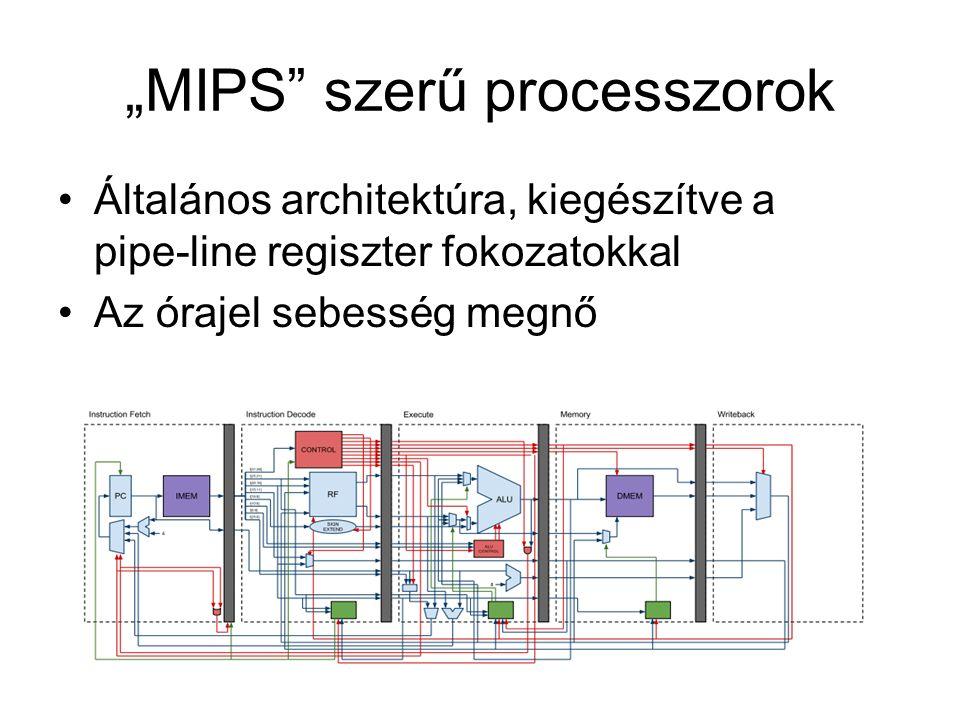 """""""MIPS szerű processzorok Általános architektúra, kiegészítve a pipe-line regiszter fokozatokkal Az órajel sebesség megnő"""