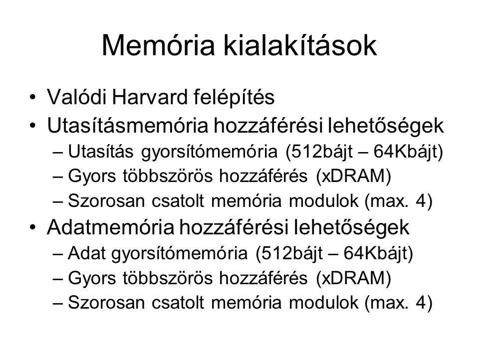Memória kialakítások Valódi Harvard felépítés Utasításmemória hozzáférési lehetőségek –Utasítás gyorsítómemória (512bájt – 64Kbájt) –Gyors többszörös hozzáférés (xDRAM) –Szorosan csatolt memória modulok (max.