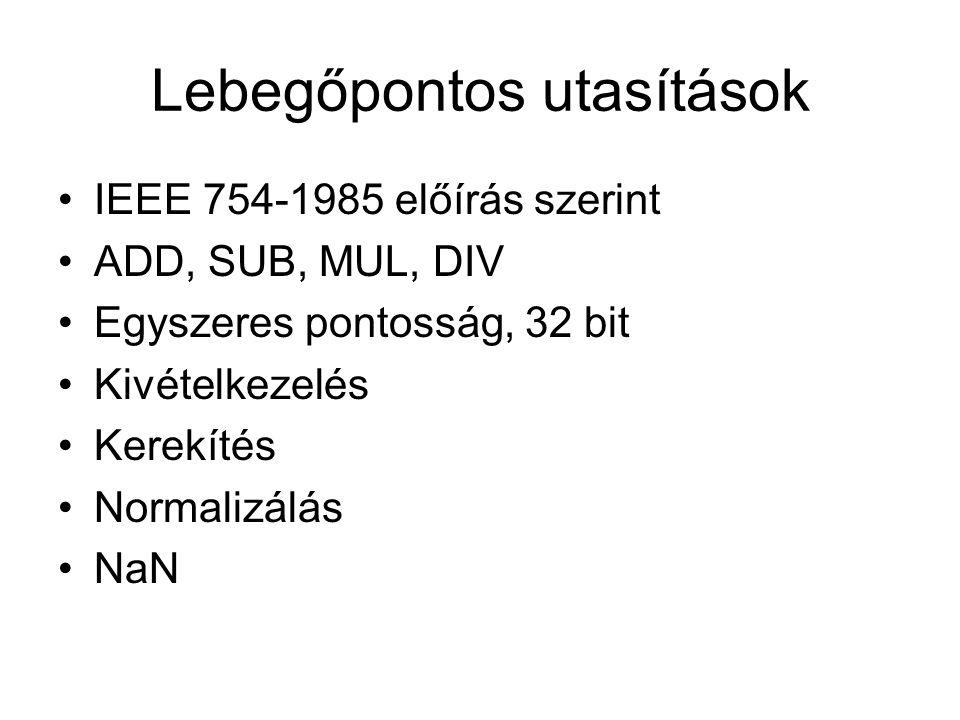 Lebegőpontos utasítások IEEE 754-1985 előírás szerint ADD, SUB, MUL, DIV Egyszeres pontosság, 32 bit Kivételkezelés Kerekítés Normalizálás NaN