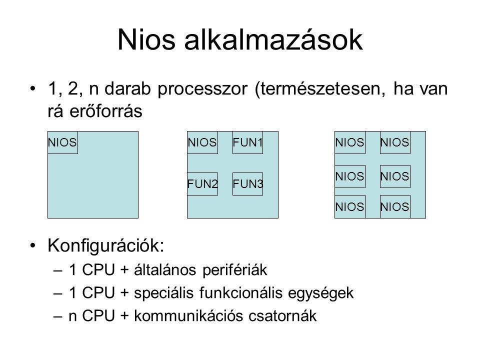 Nios alkalmazások 1, 2, n darab processzor (természetesen, ha van rá erőforrás Konfigurációk: –1 CPU + általános perifériák –1 CPU + speciális funkcionális egységek –n CPU + kommunikációs csatornák NIOS FUN1 FUN3FUN2 NIOS