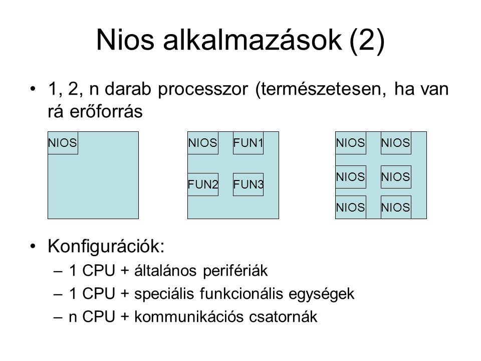 Nios alkalmazások (2) 1, 2, n darab processzor (természetesen, ha van rá erőforrás Konfigurációk: –1 CPU + általános perifériák –1 CPU + speciális funkcionális egységek –n CPU + kommunikációs csatornák NIOS FUN1 FUN3FUN2 NIOS