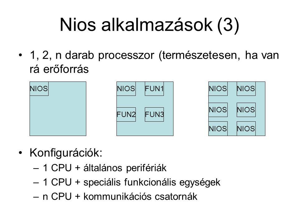 Nios alkalmazások (3) 1, 2, n darab processzor (természetesen, ha van rá erőforrás Konfigurációk: –1 CPU + általános perifériák –1 CPU + speciális funkcionális egységek –n CPU + kommunikációs csatornák NIOS FUN1 FUN3FUN2 NIOS