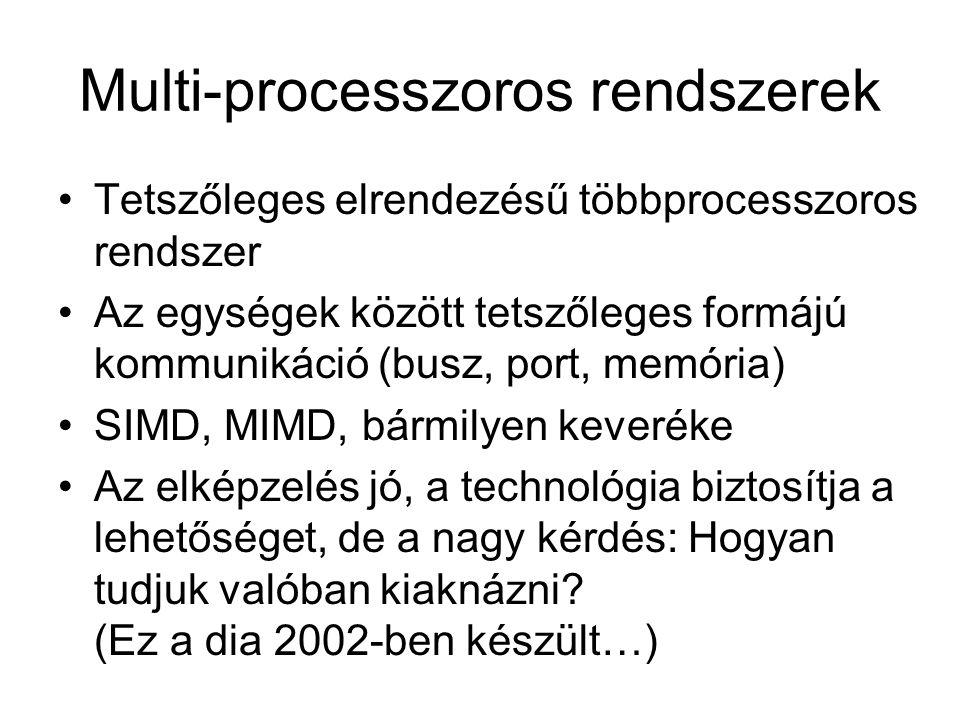 Multi-processzoros rendszerek Tetszőleges elrendezésű többprocesszoros rendszer Az egységek között tetszőleges formájú kommunikáció (busz, port, memória) SIMD, MIMD, bármilyen keveréke Az elképzelés jó, a technológia biztosítja a lehetőséget, de a nagy kérdés: Hogyan tudjuk valóban kiaknázni.