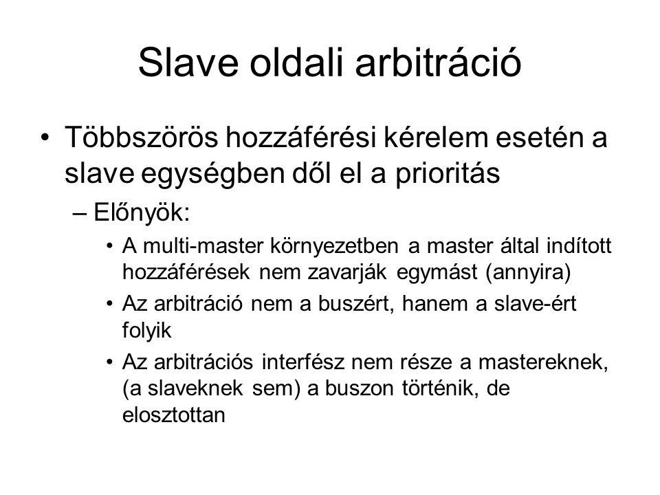 Többszörös hozzáférési kérelem esetén a slave egységben dől el a prioritás –Előnyök: A multi-master környezetben a master által indított hozzáférések nem zavarják egymást (annyira) Az arbitráció nem a buszért, hanem a slave-ért folyik Az arbitrációs interfész nem része a mastereknek, (a slaveknek sem) a buszon történik, de elosztottan
