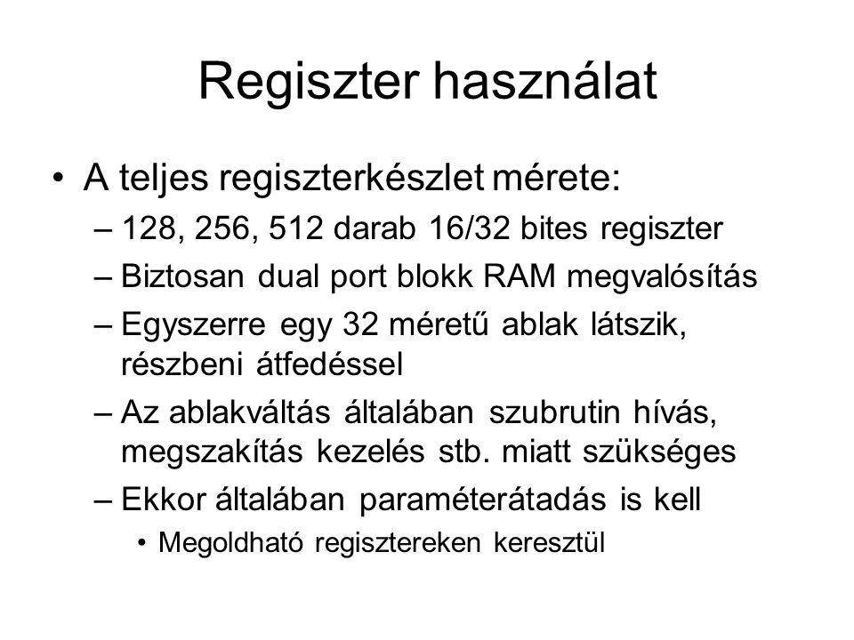 Regiszter használat A teljes regiszterkészlet mérete: –128, 256, 512 darab 16/32 bites regiszter –Biztosan dual port blokk RAM megvalósítás –Egyszerre egy 32 méretű ablak látszik, részbeni átfedéssel –Az ablakváltás általában szubrutin hívás, megszakítás kezelés stb.