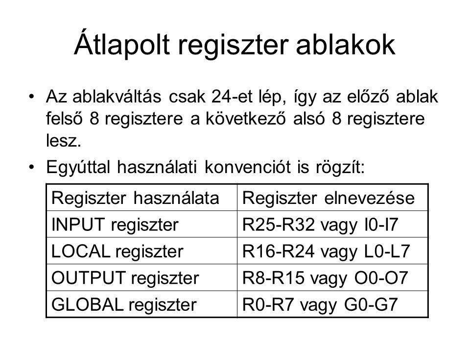 Átlapolt regiszter ablakok Az ablakváltás csak 24-et lép, így az előző ablak felső 8 regisztere a következő alsó 8 regisztere lesz.