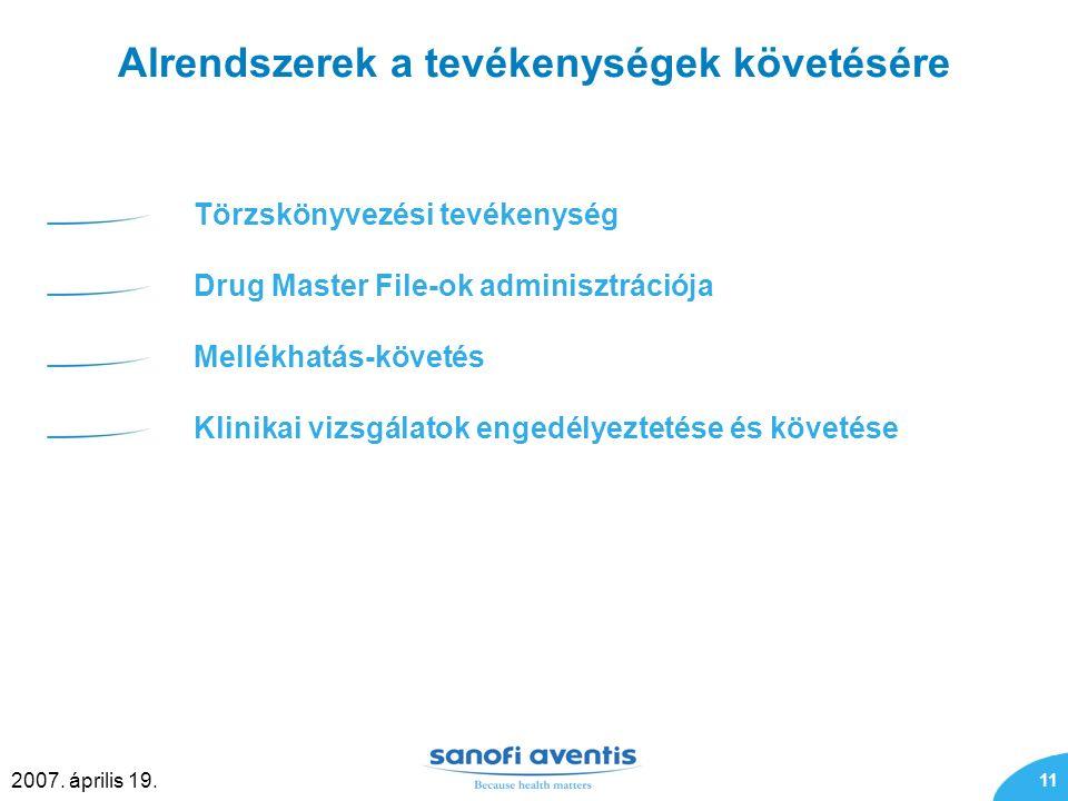 11 2007. április 19. Alrendszerek a tevékenységek követésére Törzskönyvezési tevékenység Drug Master File-ok adminisztrációja Mellékhatás-követés Klin