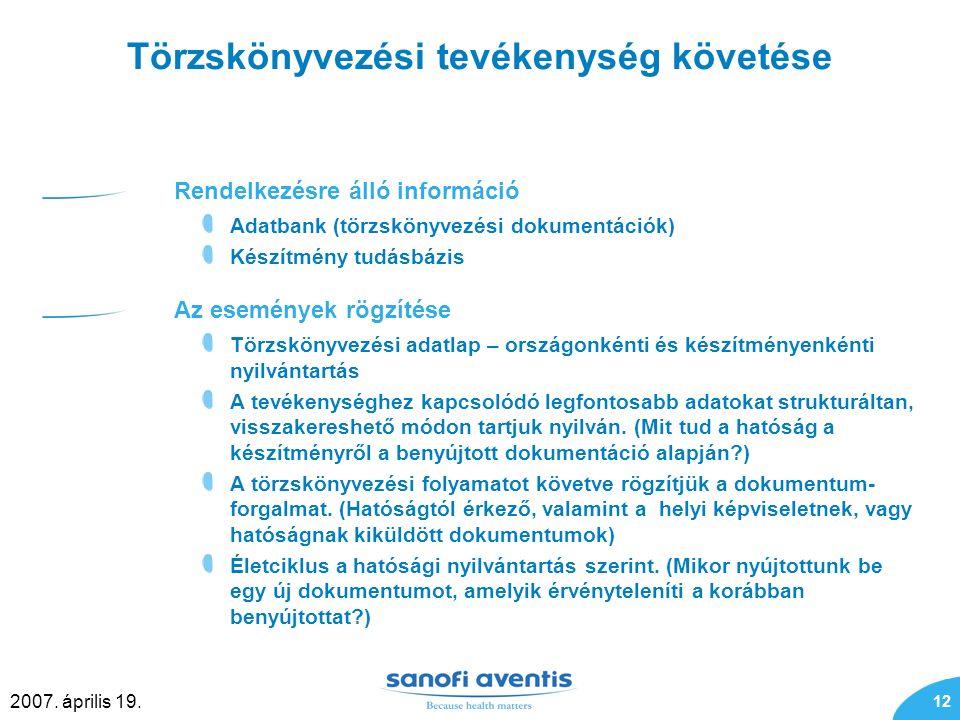 12 2007. április 19. Törzskönyvezési tevékenység követése Rendelkezésre álló információ Adatbank (törzskönyvezési dokumentációk) Készítmény tudásbázis