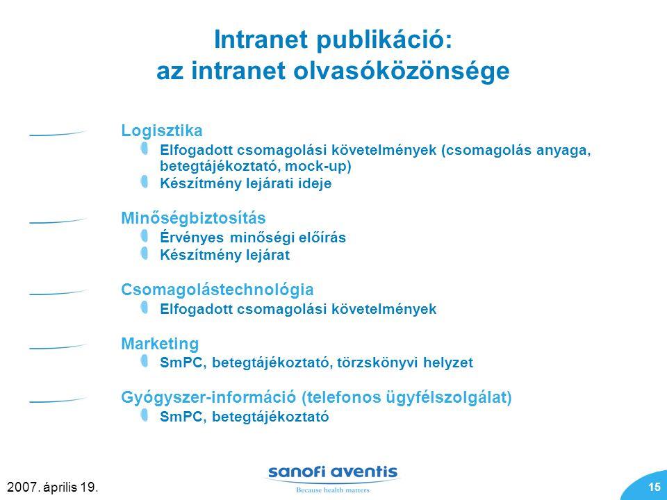 15 2007. április 19. Intranet publikáció: az intranet olvasóközönsége Logisztika Elfogadott csomagolási követelmények (csomagolás anyaga, betegtájékoz