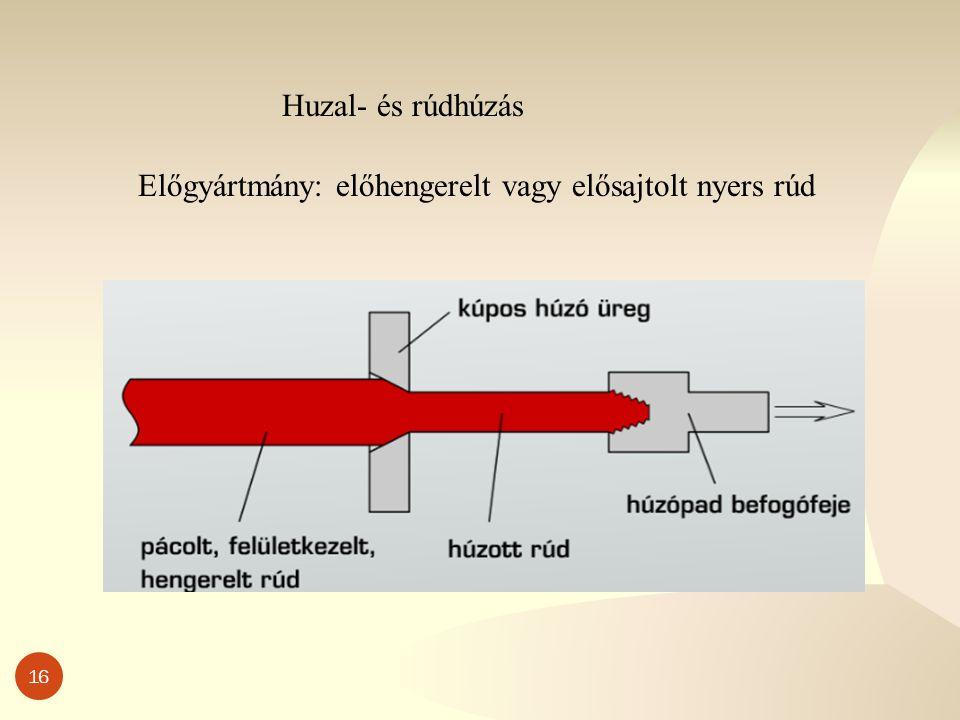 16 Huzal- és rúdhúzás Előgyártmány: előhengerelt vagy elősajtolt nyers rúd