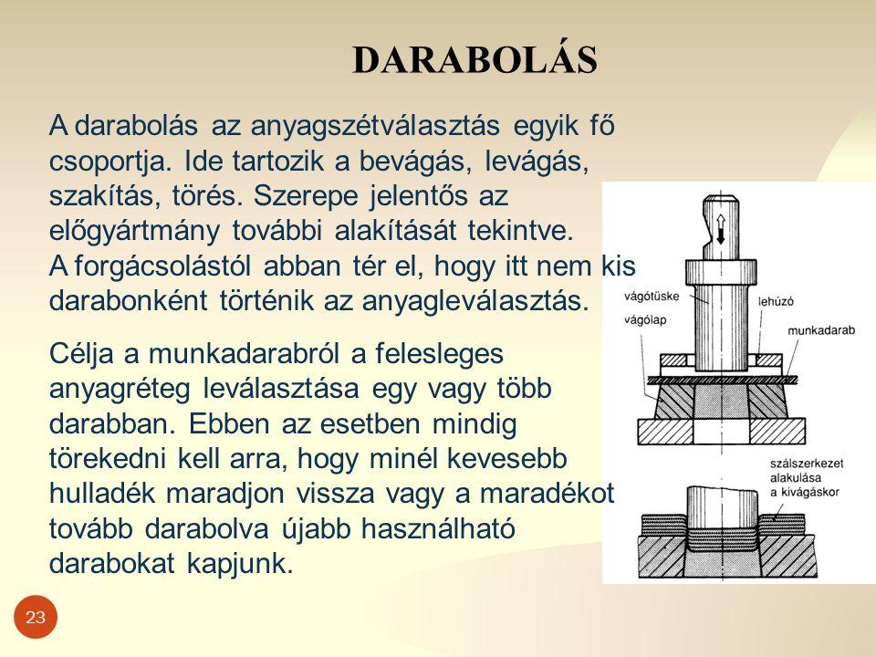 23 DARABOLÁS A darabolás az anyagszétválasztás egyik fő csoportja.