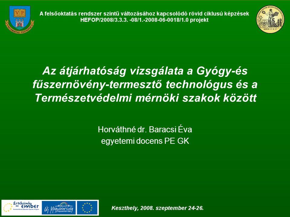 Az átjárhatóság vizsgálata a Gyógy-és fűszernövény-termesztő technológus és a Természetvédelmi mérnöki szakok között Horváthné dr. Baracsi Éva egyetem