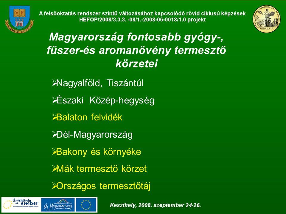 Magyarország fontosabb gyógy-, fűszer-és aromanövény termesztő körzetei  Nagyalföld, Tiszántúl  Északi Közép-hegység  Balaton felvidék  Dél-Magyar