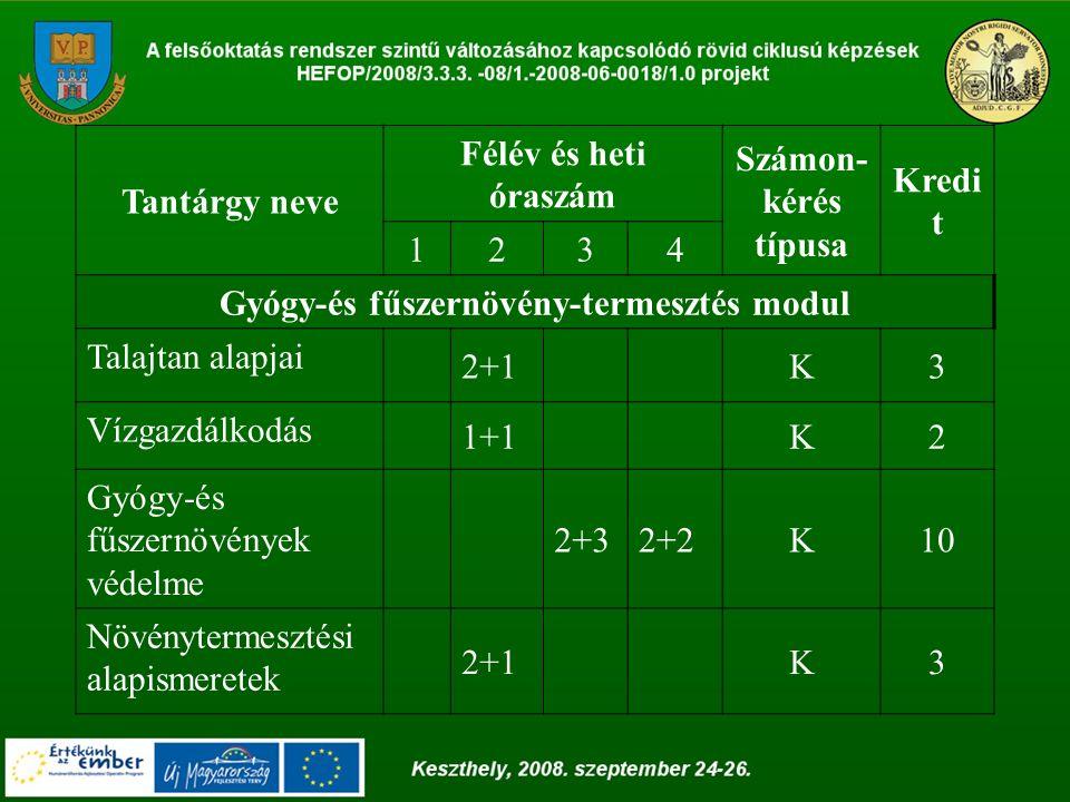 Tantárgy neve Félév és heti óraszám Számon- kérés típusa Kredi t 1234 Gyógy-és fűszernövény-termesztés modul Talajtan alapjai 2+1K3 Vízgazdálkodás 1+1