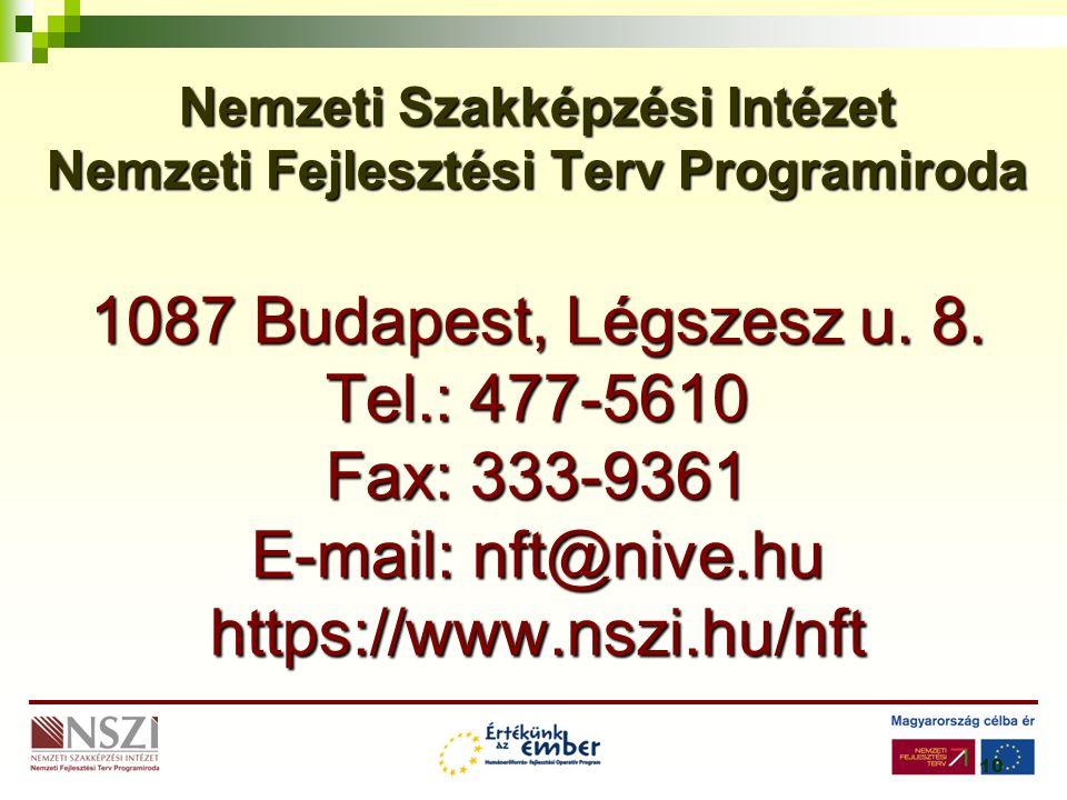 10 Nemzeti Szakképzési Intézet Nemzeti Fejlesztési Terv Programiroda 1087 Budapest, Légszesz u.