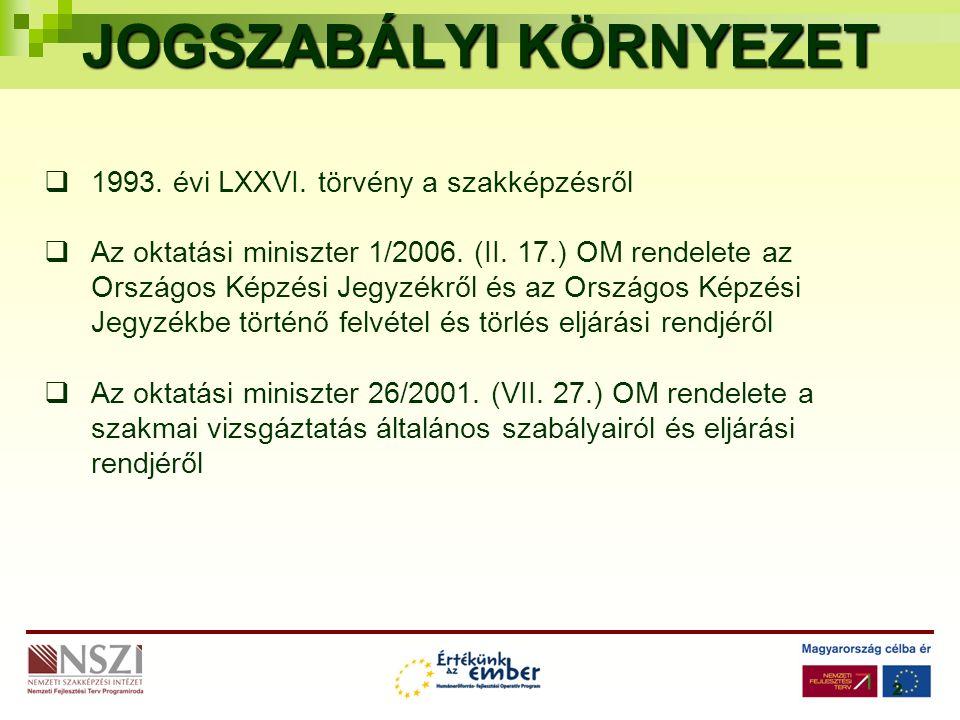 2 JOGSZABÁLYI KÖRNYEZET  1993. évi LXXVI. törvény a szakképzésről  Az oktatási miniszter 1/2006.