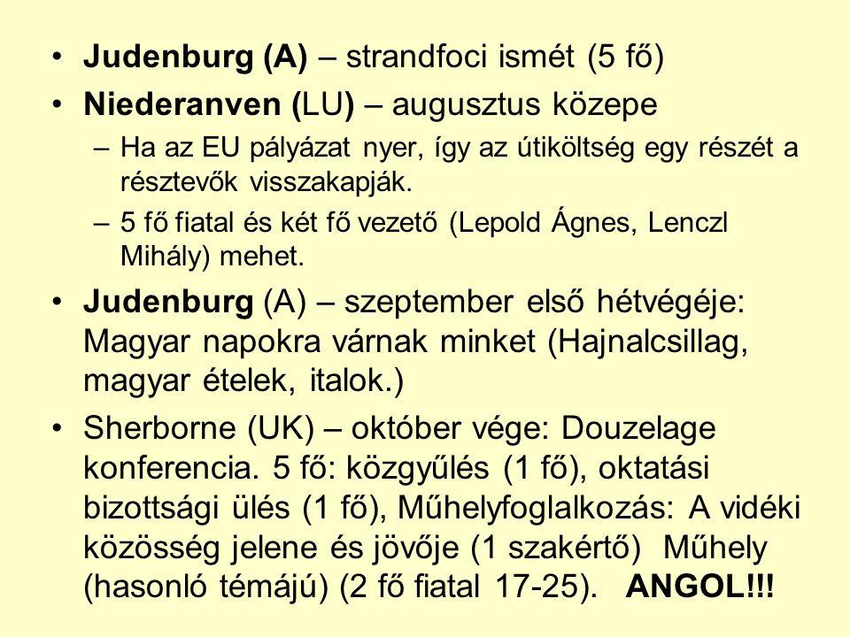 Judenburg (A) – strandfoci ismét (5 fő) Niederanven (LU) – augusztus közepe –Ha az EU pályázat nyer, így az útiköltség egy részét a résztevők visszakapják.