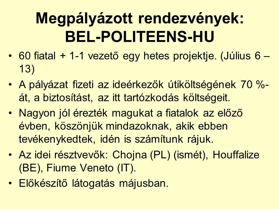 Megpályázott rendezvények: BEL-POLITEENS-HU 60 fiatal + 1-1 vezető egy hetes projektje.