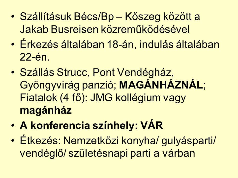 Szállításuk Bécs/Bp – Kőszeg között a Jakab Busreisen közreműködésével Érkezés általában 18-án, indulás általában 22-én.