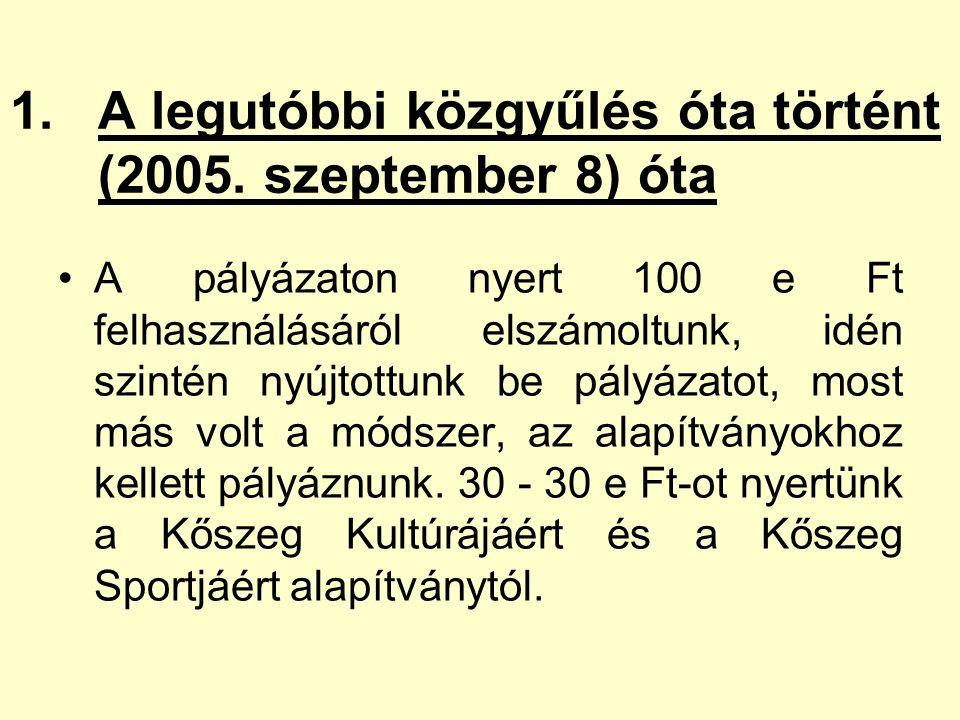 1.A legutóbbi közgyűlés óta történt (2005.