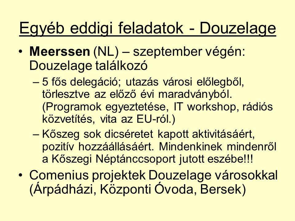 Egyéb eddigi feladatok - Douzelage Meerssen (NL) – szeptember végén: Douzelage találkozó –5 fős delegáció; utazás városi előlegből, törlesztve az előző évi maradványból.