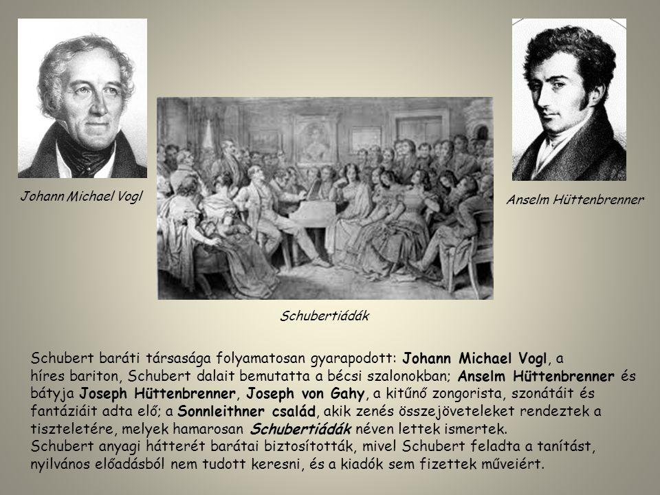 Schubert baráti társasága folyamatosan gyarapodott: Johann Michael Vogl, a híres bariton, Schubert dalait bemutatta a bécsi szalonokban; Anselm Hütten