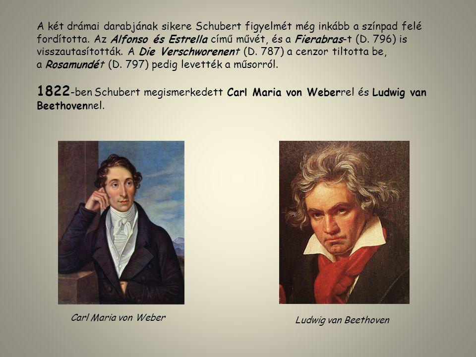 A két drámai darabjának sikere Schubert figyelmét még inkább a színpad felé fordította. Az Alfonso és Estrella című művét, és a Fierabras-t (D. 796) i