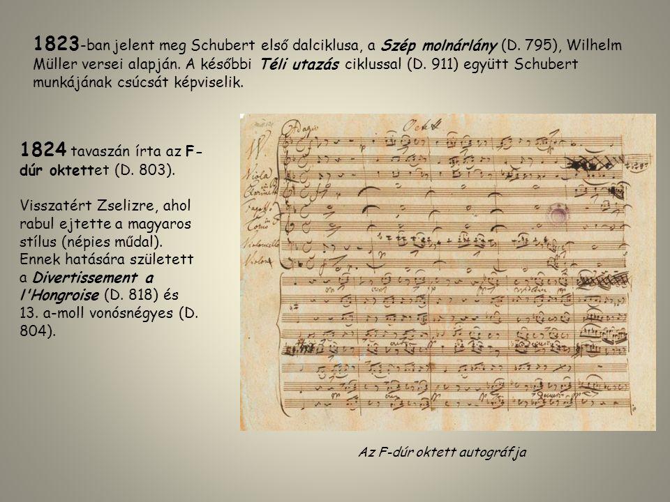 1823 -ban jelent meg Schubert első dalciklusa, a Szép molnárlány (D. 795), Wilhelm Müller versei alapján. A későbbi Téli utazás ciklussal (D. 911) egy
