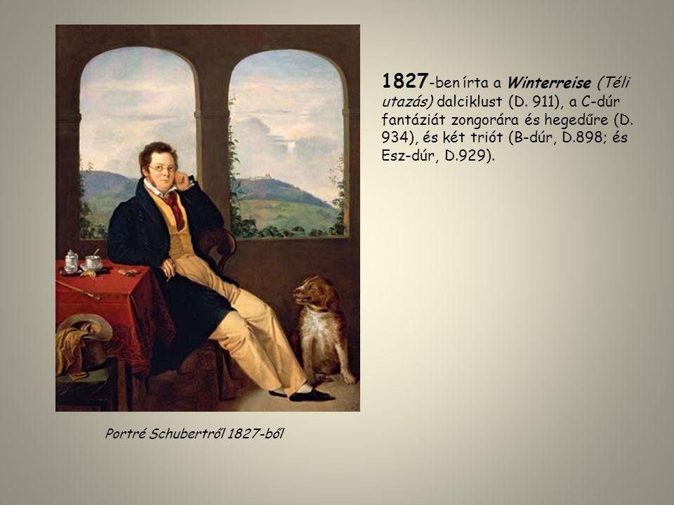 Portré Schubertről 1827-ből 1827 -ben írta a Winterreise (Téli utazás) dalciklust (D. 911), a C-dúr fantáziát zongorára és hegedűre (D. 934), és két t