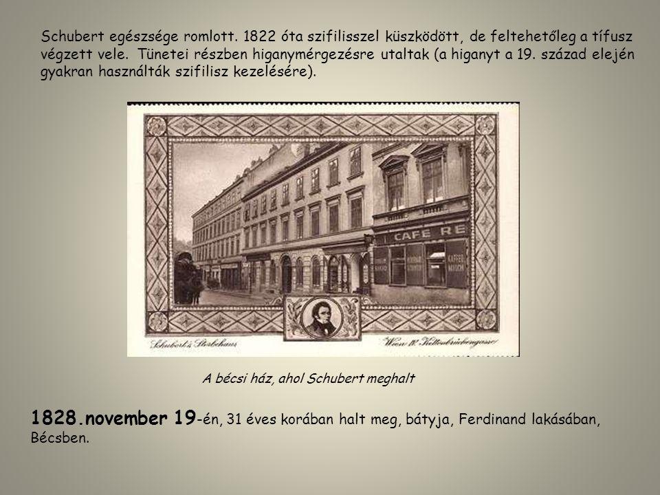 Schubert egészsége romlott. 1822 óta szifilisszel küszködött, de feltehetőleg a tífusz végzett vele. Tünetei részben higanymérgezésre utaltak (a higan