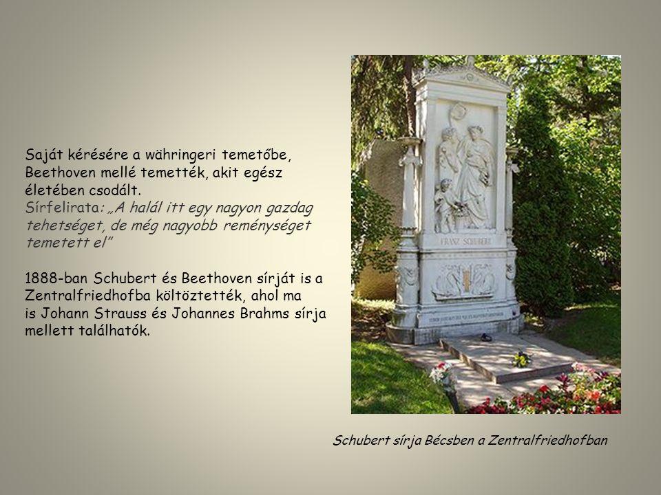 """Saját kérésére a währingeri temetőbe, Beethoven mellé temették, akit egész életében csodált. Sírfelirata: """"A halál itt egy nagyon gazdag tehetséget, d"""