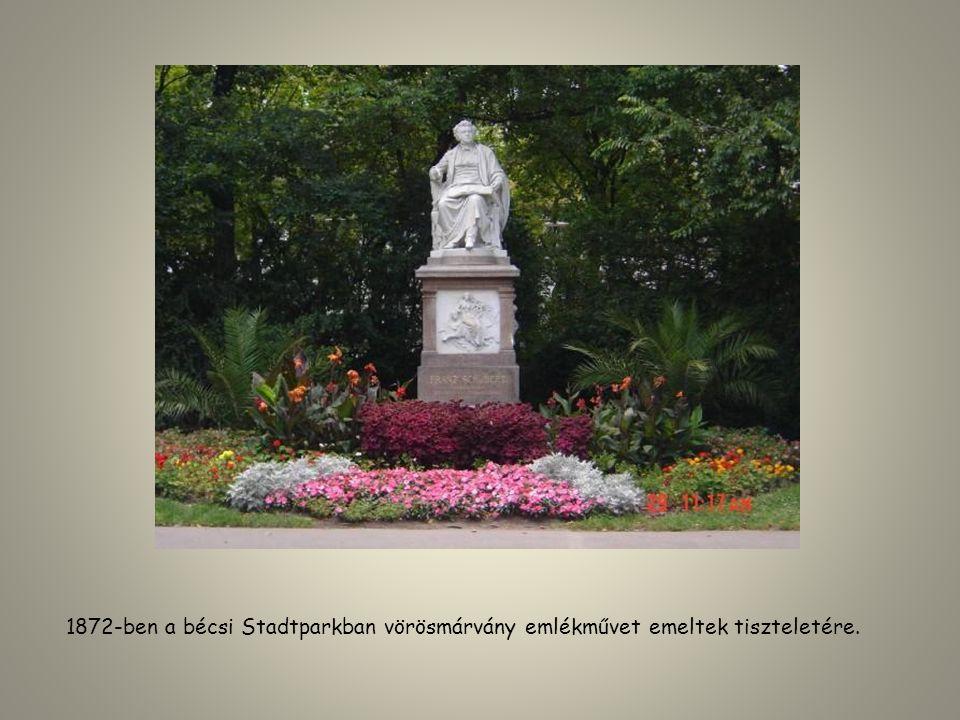 1872-ben a bécsi Stadtparkban vörösmárvány emlékművet emeltek tiszteletére.
