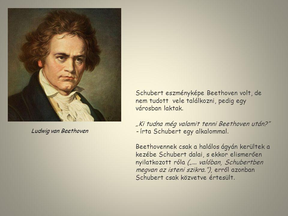 """Schubert eszményképe Beethoven volt, de nem tudott vele találkozni, pedig egy városban laktak. """"Ki tudna még valamit tenni Beethoven után?"""" - írta Sch"""
