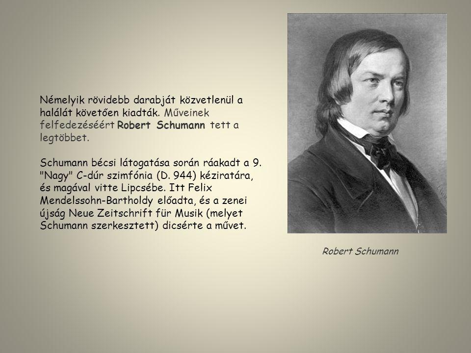 Némelyik rövidebb darabját közvetlenül a halálát követően kiadták. Műveinek felfedezéséért Robert Schumann tett a legtöbbet. Schumann bécsi látogatása