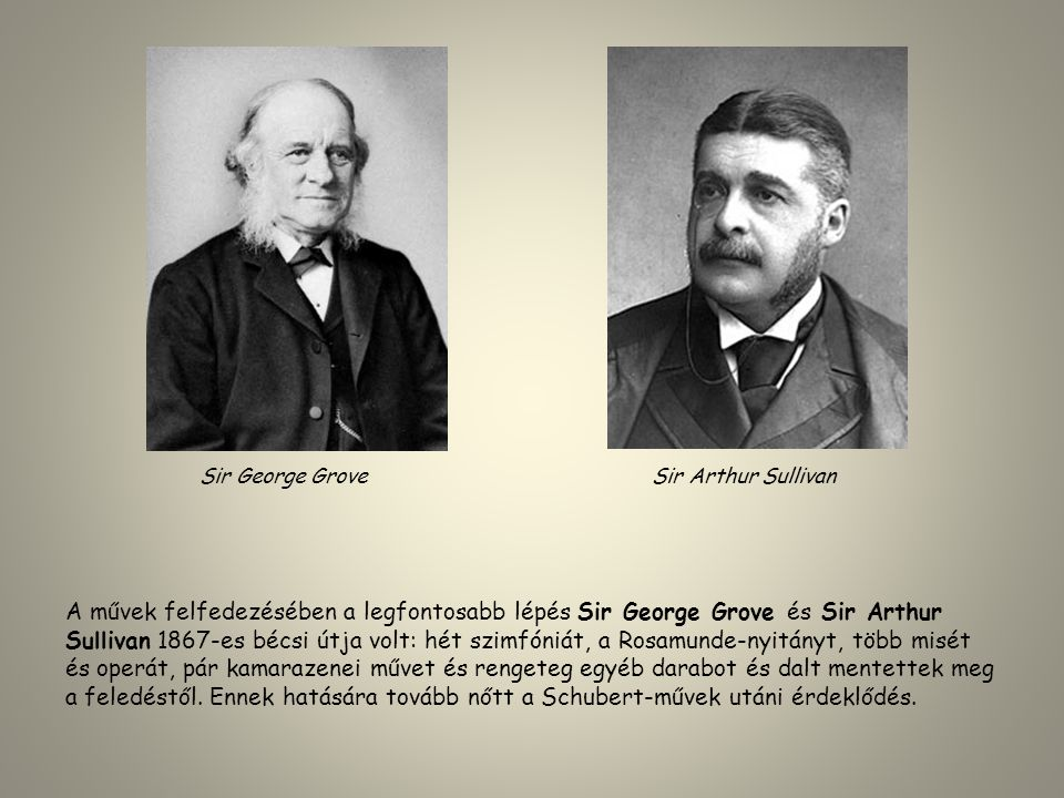 A művek felfedezésében a legfontosabb lépés Sir George Grove és Sir Arthur Sullivan 1867-es bécsi útja volt: hét szimfóniát, a Rosamunde-nyitányt, töb