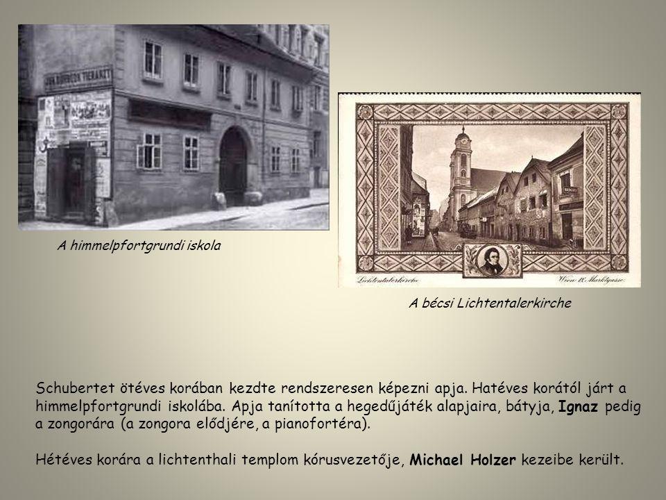 Schubertet ötéves korában kezdte rendszeresen képezni apja. Hatéves korától járt a himmelpfortgrundi iskolába. Apja tanította a hegedűjáték alapjaira,