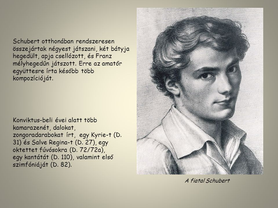 Schubert otthonában rendszeresen összejártak négyest játszani, két bátyja hegedült, apja csellózott, és Franz mélyhegedűn játszott. Erre az amatőr egy
