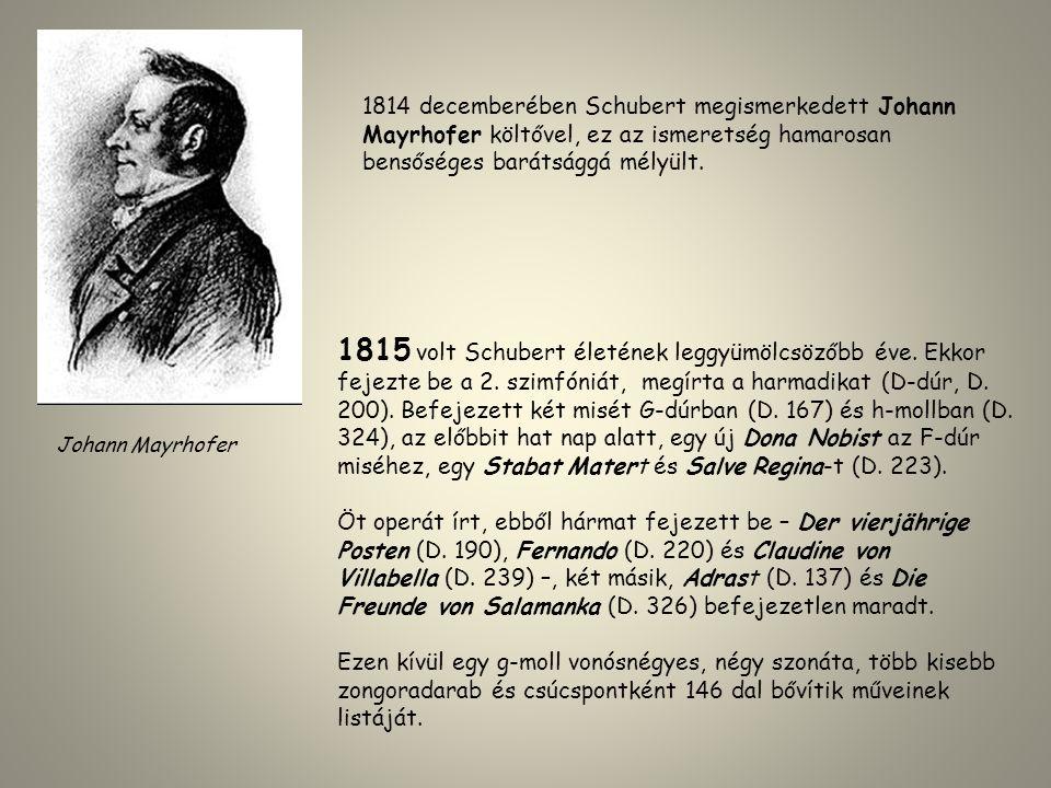 1815 volt Schubert életének leggyümölcsözőbb éve. Ekkor fejezte be a 2. szimfóniát, megírta a harmadikat (D-dúr, D. 200). Befejezett két misét G-dúrba