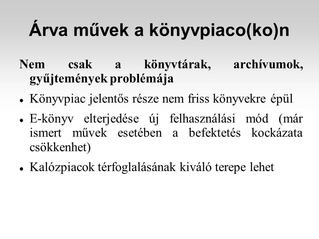 Árva művek a könyvpiaco(ko)n Nem csak a könyvtárak, archívumok, gyűjtemények problémája Könyvpiac jelentős része nem friss könyvekre épül E-könyv elte