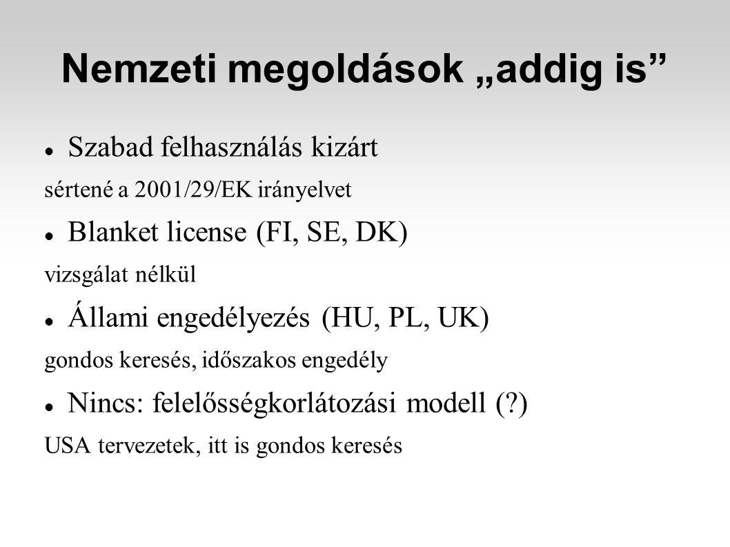 """Nemzeti megoldások """"addig is"""" Szabad felhasználás kizárt sértené a 2001/29/EK irányelvet Blanket license (FI, SE, DK) vizsgálat nélkül Állami engedély"""