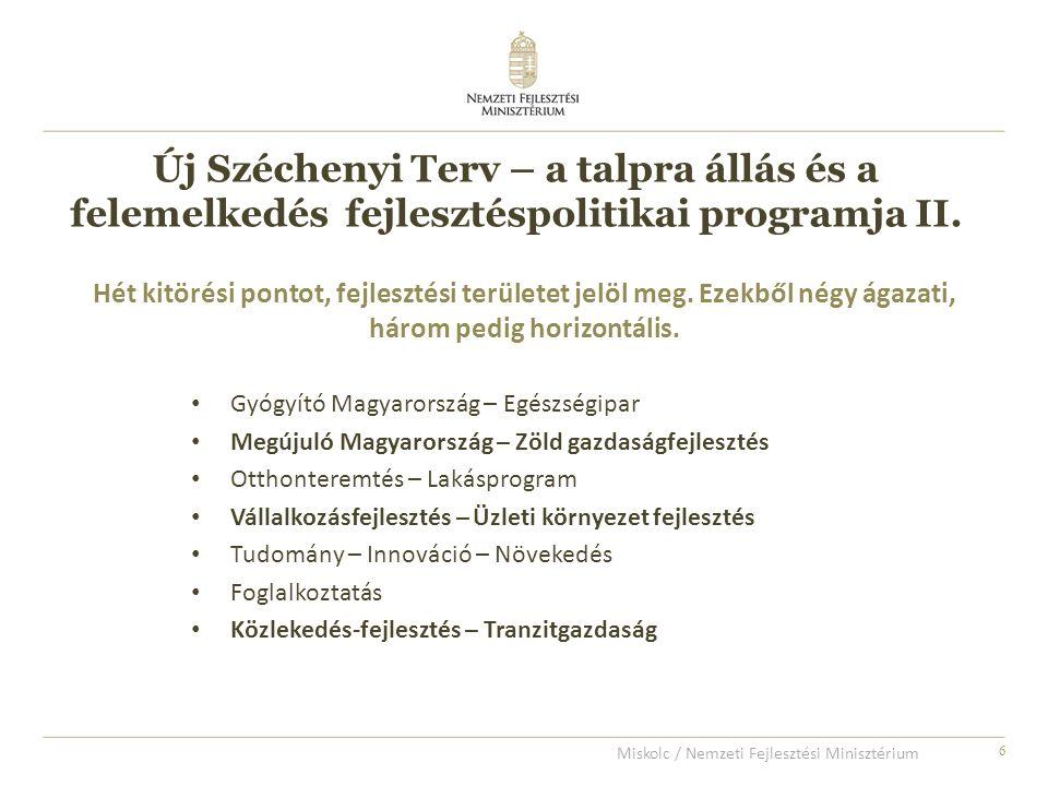 6 Gyógyító Magyarország – Egészségipar Megújuló Magyarország – Zöld gazdaságfejlesztés Otthonteremtés – Lakásprogram Vállalkozásfejlesztés – Üzleti környezet fejlesztés Tudomány – Innováció – Növekedés Foglalkoztatás Közlekedés-fejlesztés – Tranzitgazdaság Hét kitörési pontot, fejlesztési területet jelöl meg.