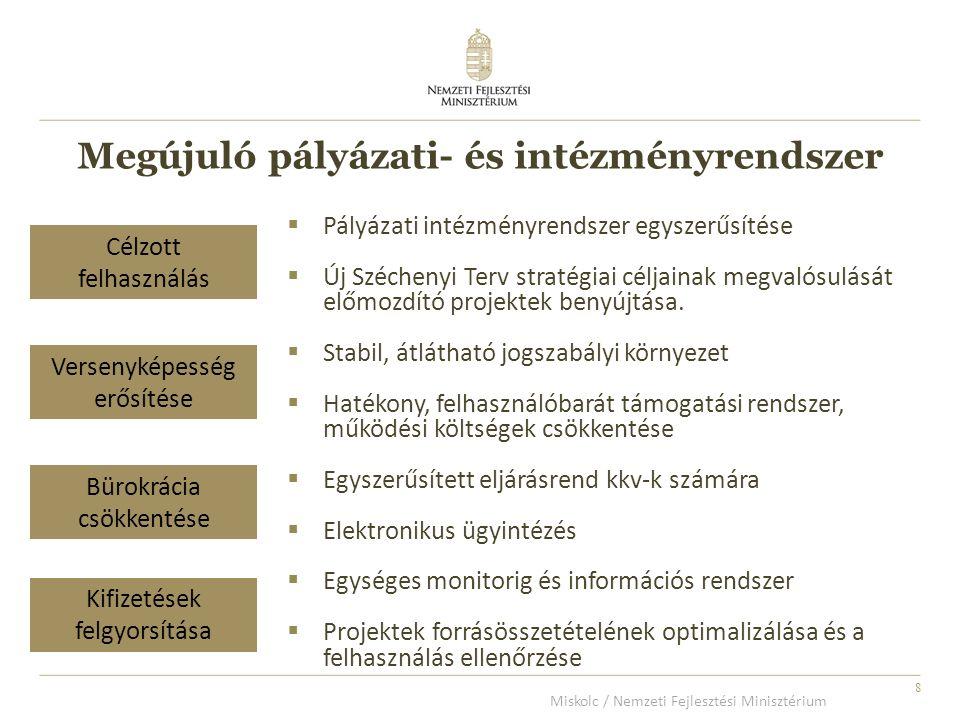8  Pályázati intézményrendszer egyszerűsítése  Új Széchenyi Terv stratégiai céljainak megvalósulását előmozdító projektek benyújtása.