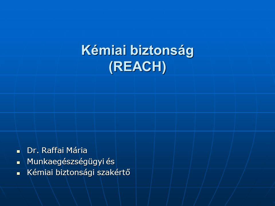 Kémiai biztonság (REACH) Dr. Raffai Mária Dr.