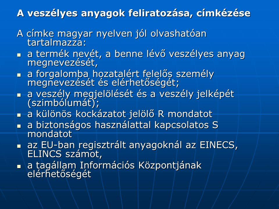 A veszélyes anyagok feliratozása, címkézése A címke magyar nyelven jól olvashatóan tartalmazza: a termék nevét, a benne lévő veszélyes anyag megnevezését, a termék nevét, a benne lévő veszélyes anyag megnevezését, a forgalomba hozatalért felelős személy megnevezését és elérhetőségét; a forgalomba hozatalért felelős személy megnevezését és elérhetőségét; a veszély megjelölését és a veszély jelképét (szimbólumát); a veszély megjelölését és a veszély jelképét (szimbólumát); a különös kockázatot jelölő R mondatot a különös kockázatot jelölő R mondatot a biztonságos használattal kapcsolatos S mondatot a biztonságos használattal kapcsolatos S mondatot az EU-ban regisztrált anyagoknál az EINECS, ELINCS számot, az EU-ban regisztrált anyagoknál az EINECS, ELINCS számot, a tagállam Információs Központjának elérhetőségét a tagállam Információs Központjának elérhetőségét