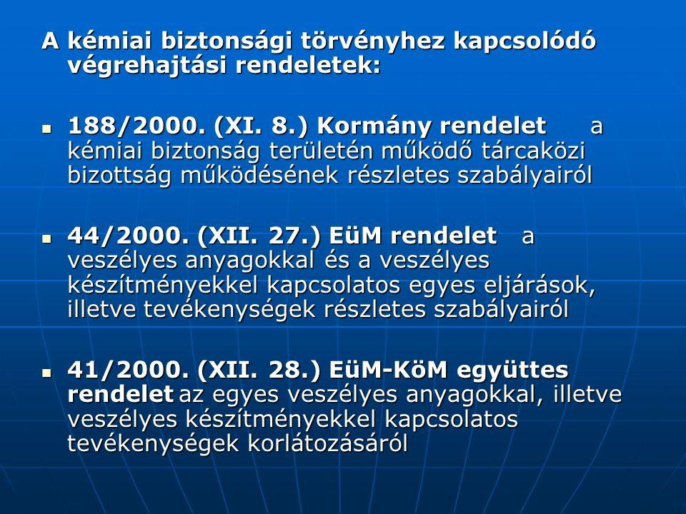 A kémiai biztonsági törvényhez kapcsolódó végrehajtási rendeletek: 188/2000.